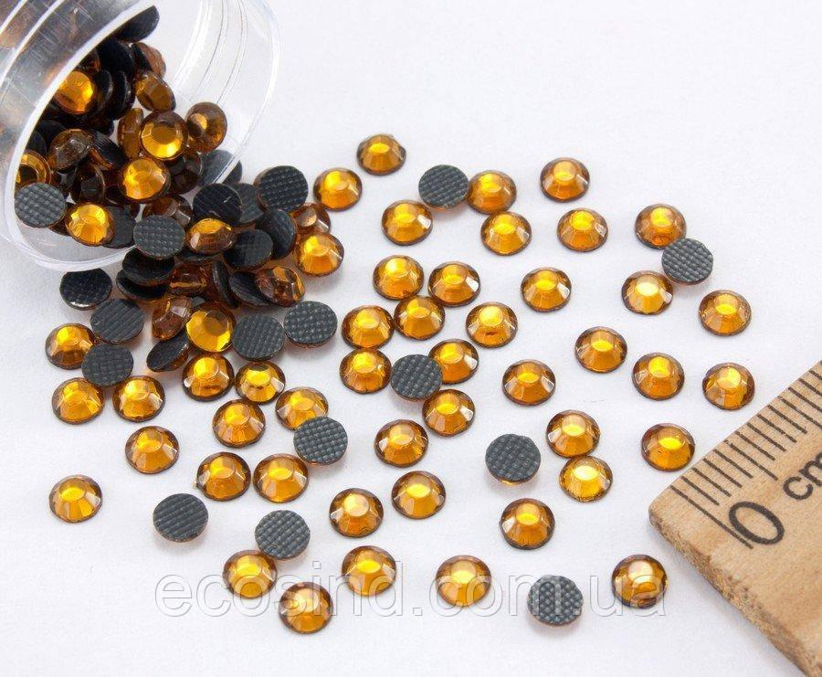 (10грамм  400шт)  Стразы SS16 стеклянные (3,7-4мм) термоклеевые Цвет - Жёлтый насыщенный (сп7нг-0453)