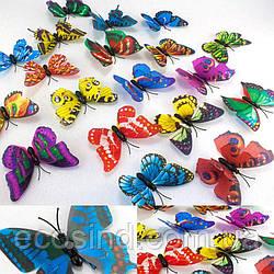 (10шт) 3D Бабочки с магнитом СРЕДНИЕ двойные ≈7х5см Цвета-МИКС с блеском! (сп7нг-0332)