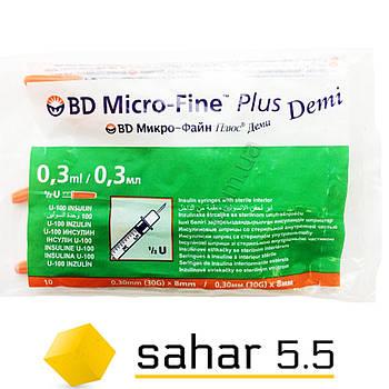 Шприцы инсулиновые Деми БД Микрофайн Плюс Деми 0,3 ml