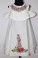 Вишита сукня для дівчинки Olana Єва трапеція молочне