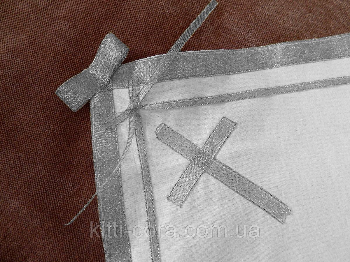 Крыжма для крещения с золотыми лентами, бантами и крестом. Модель Silveri (Сильвери)