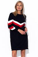 Платье-свитшот черного цвета в стиле колор-блок. Размеры 42-58