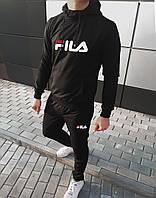 Мужской спортивный костюм стильный в стиле Fila черный однотонный