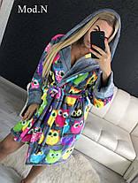 Женский плюшевый домашний халат с совами, фото 2