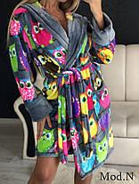Женский плюшевый домашний халат с совами, фото 3