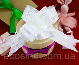 (10шт) Подарочные банты 72х4,5см (22х20см в собранном виде) бант-затяжка, цена за 10шт Цвет - Белый