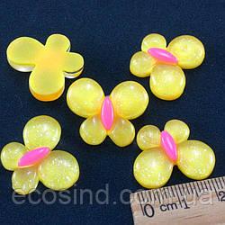 """(10шт) Серединки, кабошоны """"Бабочка"""" 22х18мм Цена указана за 10шт Цвет - Желтый"""