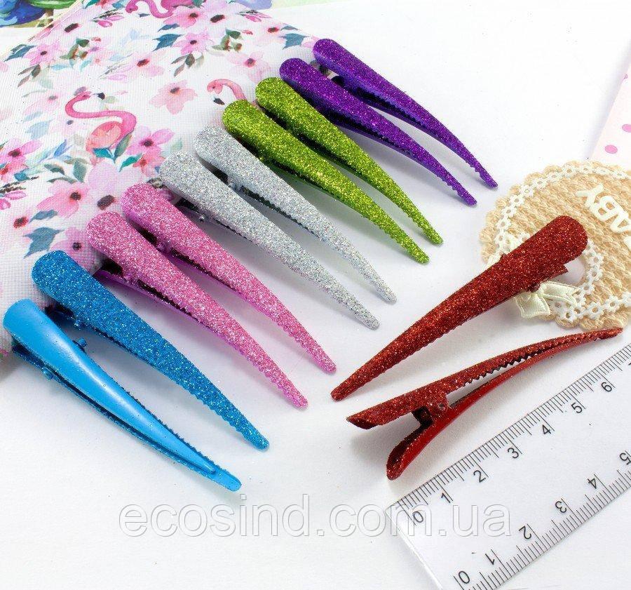 (12шт, 6 цветов) Зажим для волос стрела 7,5см (металл) Цвета - Микс в блёсках (глиттере) (сп7нг-1808)