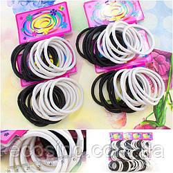(144шт) Резиночки - джгутик, для волосся (5 см, зовнішній діаметр) Колір - Чорно-білий МІКС (сп7нг-0276)