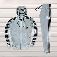 Мужской спортивный костюм c капюшоном в стиле Adidas серый Однотонный, фото 1