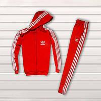 Мужской спортивный костюм c капюшоном в стиле Adidas красный Однотонный, фото 1