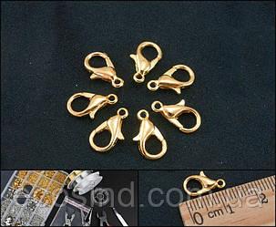 (19-20 штук) Застёжка-карабин лобстер для украшений 12 х 7 мм, Цвет - Золото