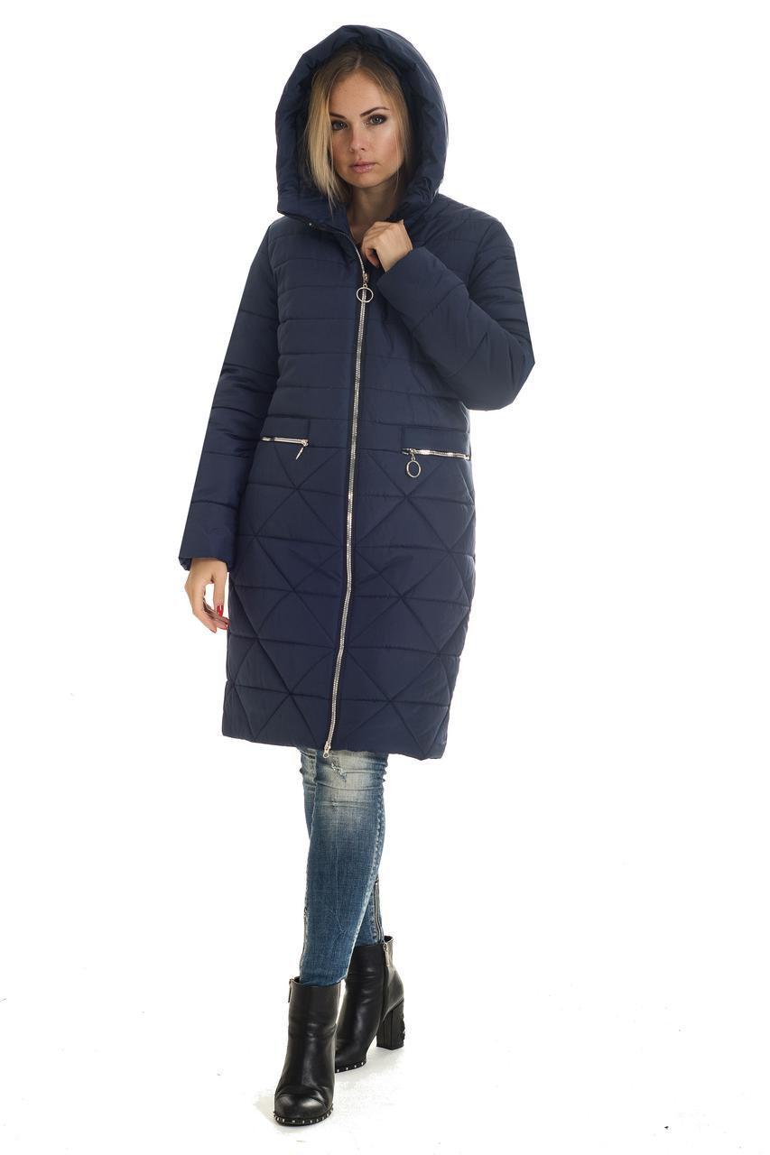 Парку зимову жіночу без хутра 42,44,46,48 синій