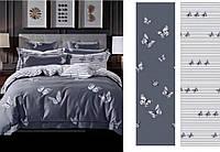 Сатиновое постельное бельё (12474) двуспальное евро 200*220 хлопок, фото 1