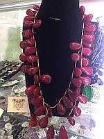 Рубин бусы из натурального рубина, рубиновые бусы колье ожерелье Индия, фото 1