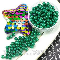 (20 грамм) Жемчуг пластик Ø4мм (прим. 550-650 бусин) Цвет - Зелёный (сп7нг-1299)