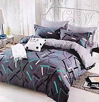 Сатиновое постельное бельё (12481) двуспальное евро 200*220 хлопок, фото 1