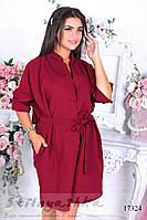 Платье-рубашка обманка для полных бордо, фото 1