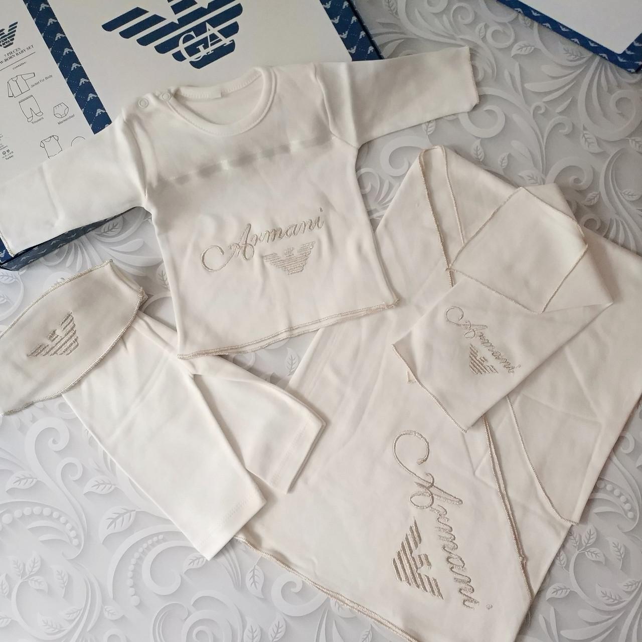Комплект Armani на выписку, в роддом, на крещение, 5 предметов