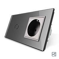 Сенсорный проходной выключатель с розеткой Livolo, цвет серый, стекло (VL-C701S/C7C1EU-15)