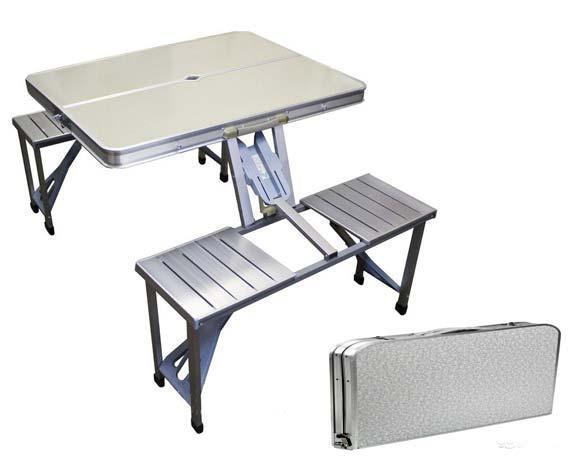 Портативный алюминиевый складной столик для пикника на 4 человека с отверстием для зонтика