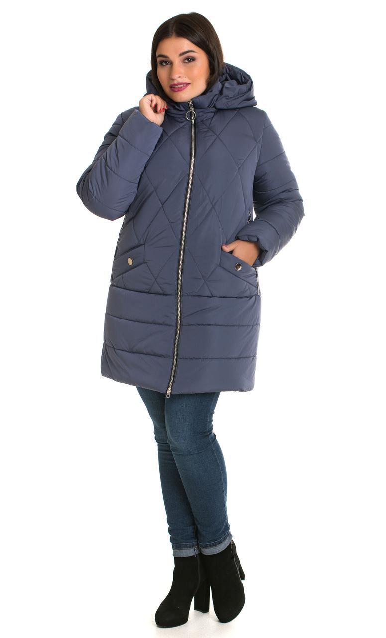 Зимняя женская куртка больших размеров  48-70 джинс