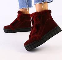 36,37,38,40 теплые натуральные женские замшевые угги зимние ботинки на платформе бордовые B78RF22V
