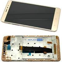 Дисплей для Xiaomi Redmi 3/3 Pro/Redmi 3s/3s Prime/Redmi 3x + тачскрин, золотистый, с передней панелью