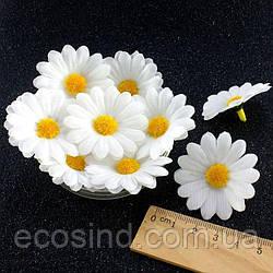 """(20шт) Головы искусственных цветов """"Ромашка БЕЛАЯ"""" d=40мм (материал-ткань) (сп7нг-1101)"""
