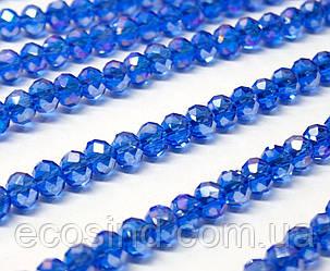 Бусины хрустальные (Рондель)  6х4мм пачка - 95-105 шт, цвет - синий прозрачный с АБ