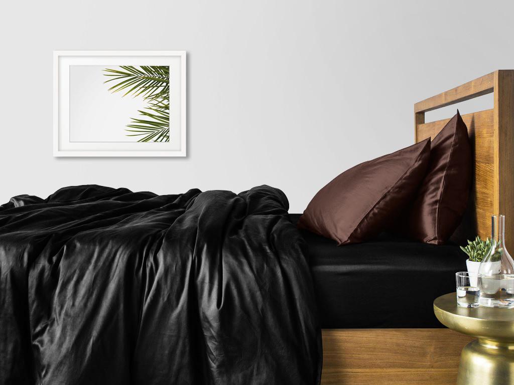 Комплект полуторного постельного белья сатин BLACK CHOCOLATE-P