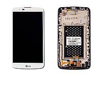 Дисплей для LG K410 K10 Dual Sim/K420N/K430DS + тачскрин, белый, без микросхемы, с передней панелью, оригинал (Китай)