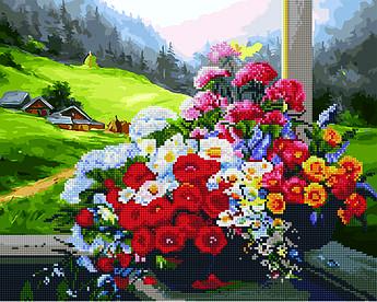 Алмазная мозайка+картина по номерам Букет на окне, 40x50 см., Rainbow art