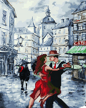 Алмазная мозайка+картина по номерам Танго на площади, 40x50 см., Rainbow art