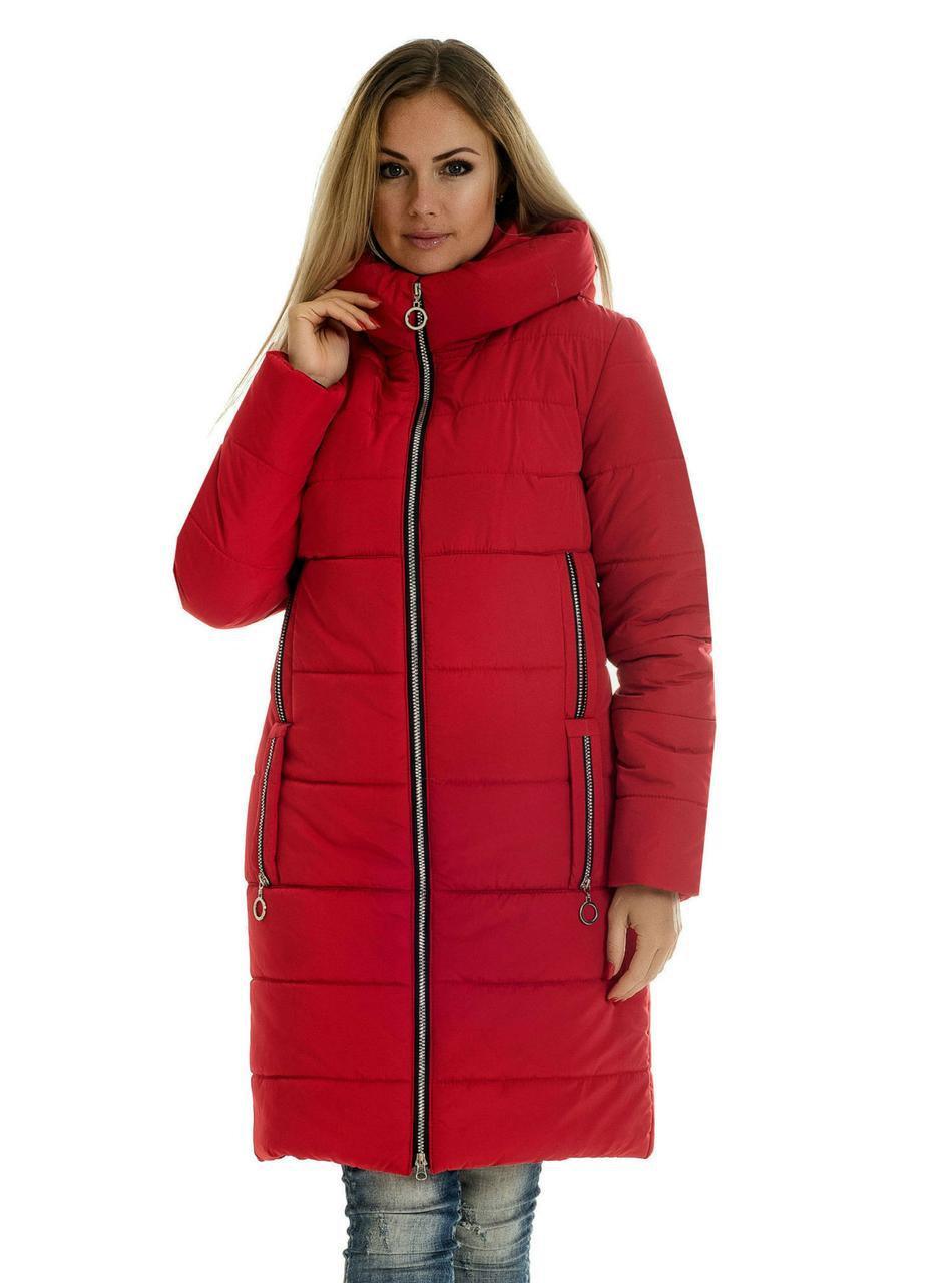 Пуховик женский зима большого размера  42-56 красный