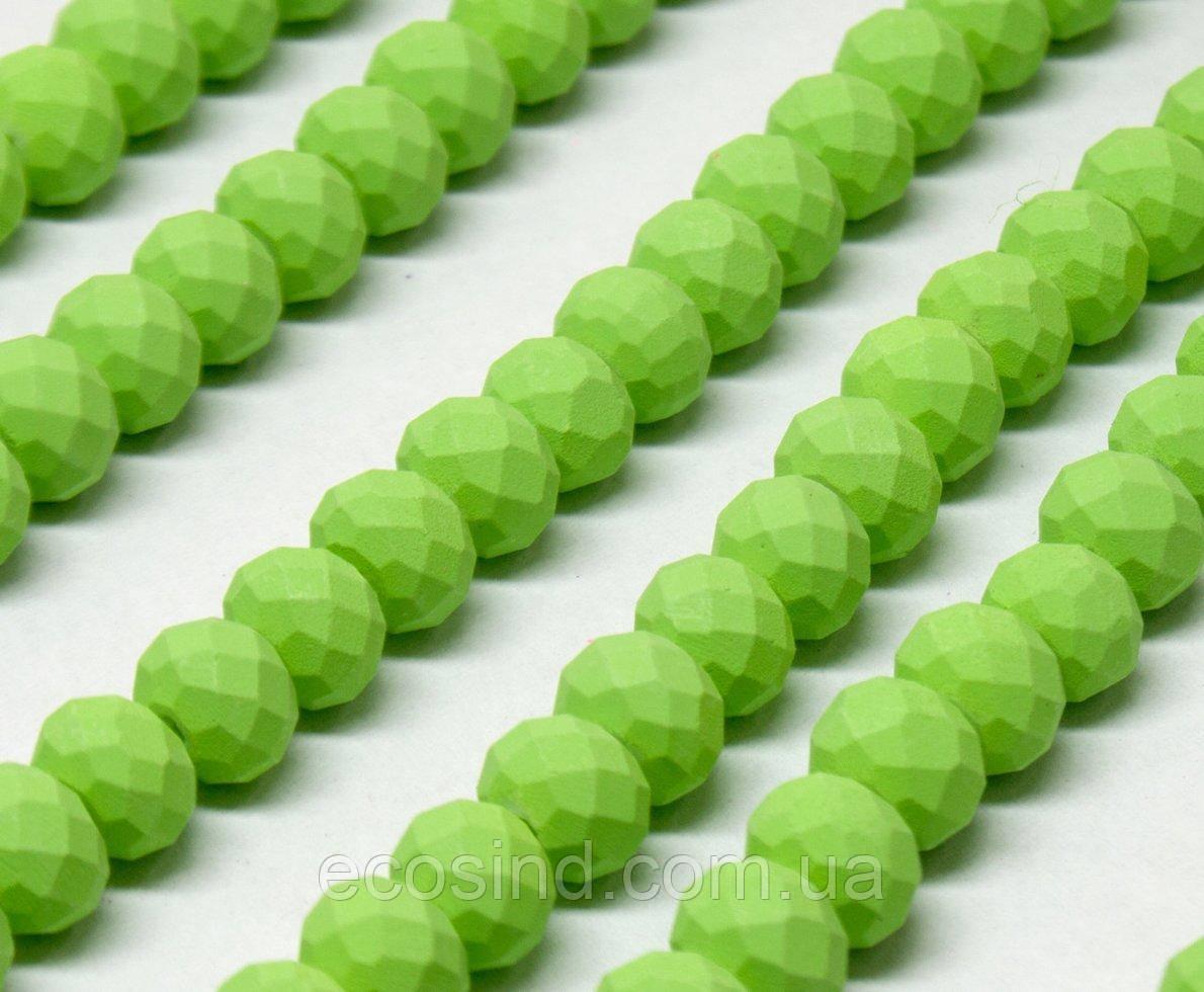 Бусины хрустальные (Рондель) 8х6мм  пачка - примерно 65 шт, цвет - матовый салатовый (сп7нг-2067)