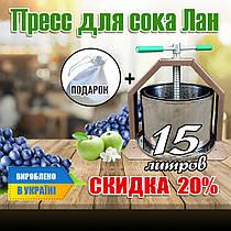 Домашній прес для соку з овочів і фруктів на 15 літрів Лан, гвинтовий прес изнержавейки від виробника.