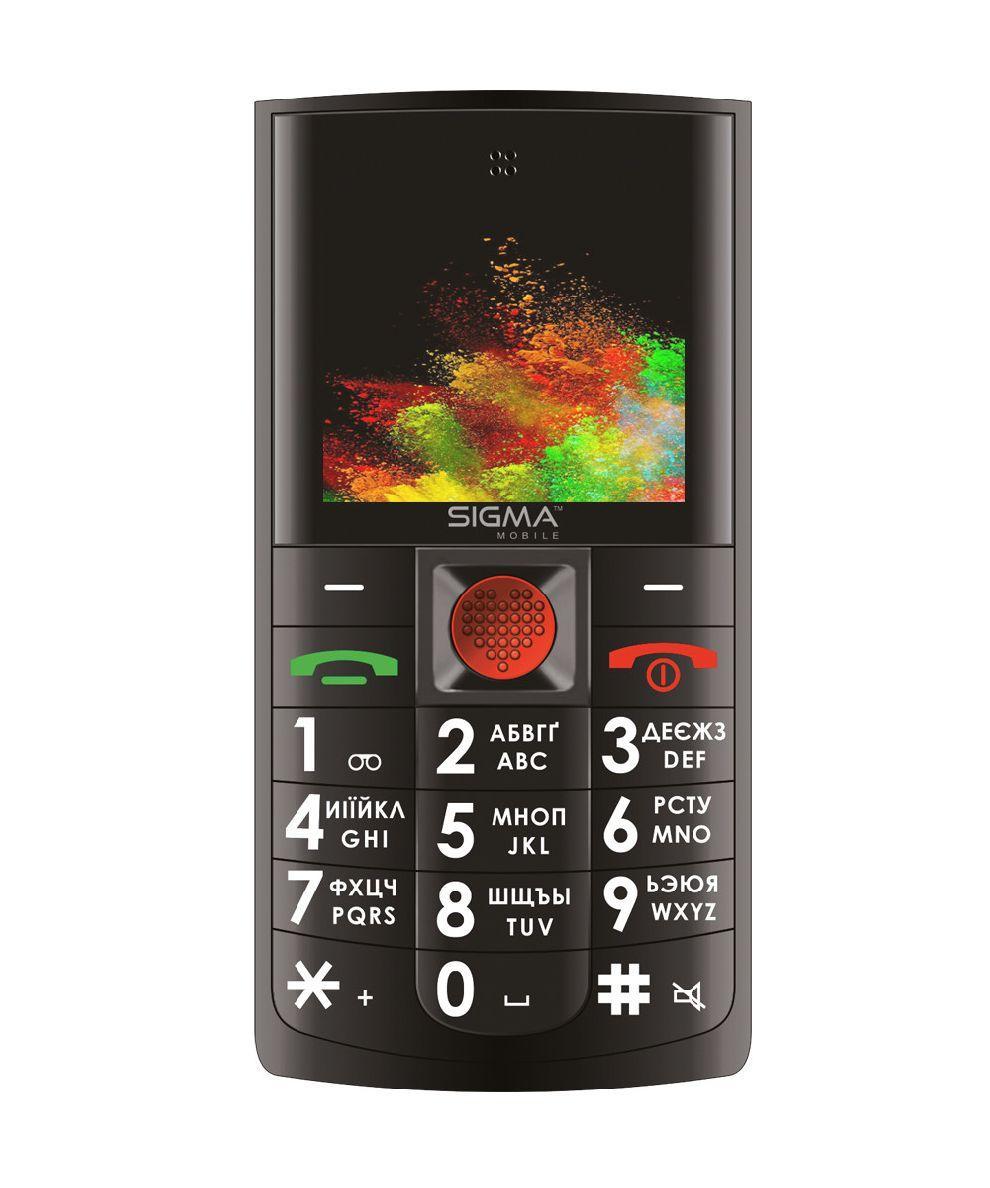 Телефон кнопочный для пожилых людей с озвучкой цифр при наборе с хорошей батареей Sigma Comfort 50 Solo чёрный