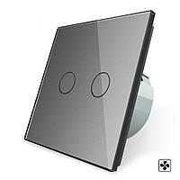 Сенсорный выключатель Livolo для ванной комнаты свет и вытяжка серый стекло (VL-C702-2IH-15), фото 1