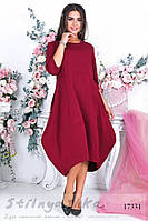 Платье балахон для полных бордо, фото 1