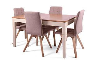 Кухонный, деревянный комплект -Стол Боруссия + 4 стула Бодо