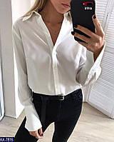Женская рубашка белая голубая розовая M-L S-M, фото 1