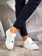 Женские белые кожаные кеды Casual, фото 1