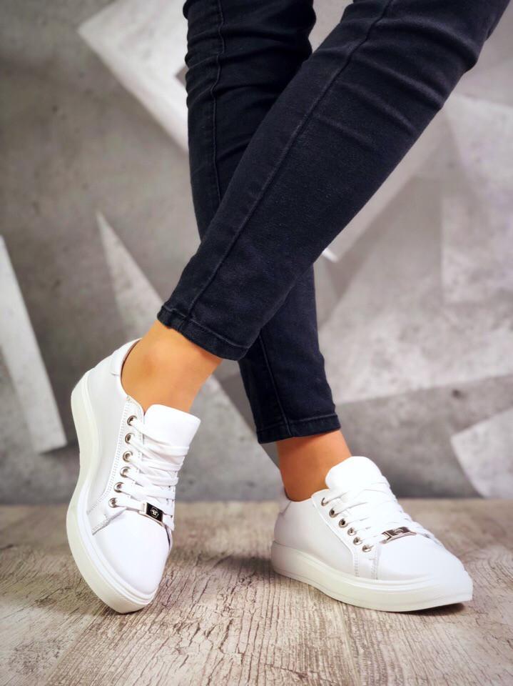 Женские белые кожаные кеды Casual