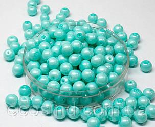 Жемчуг стеклянный  Ø8мм пачка - примерно 75 шт, цвет -  бирюзовый жемчужный (сп7нг-1401)