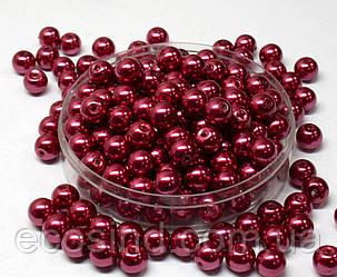 Жемчуг стеклянный  Ø8мм пачка - примерно 75 шт, цвет -  винный глянцевый (сп7нг-1393)