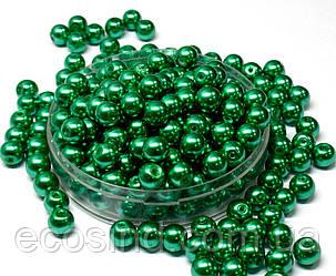 Жемчуг стеклянный  Ø8мм пачка - примерно 75 шт, цвет -  зеленый глянцевый (сп7нг-1392)