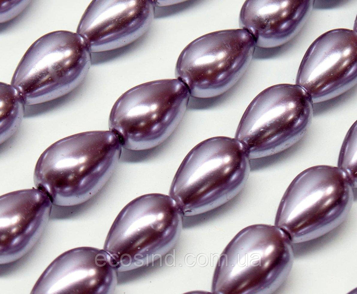 Жемчуг стеклянный  капля 11х8мм   пачка - примерно 50 шт, цвет - сиреневый глянцевый (сп7нг-2311)