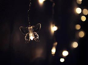✅Декоративная Светодиодная Гирлянда Штора Сердце ЛЕД Белая Теплая 2х1,5м 124LED ❤ Curtain Питание От Сети 220В, фото 3