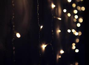 ✅Декоративная Светодиодная Гирлянда Штора Сердце ЛЕД Белая Теплая 2х1,5м 124LED ❤ Curtain Питание От Сети 220В, фото 2